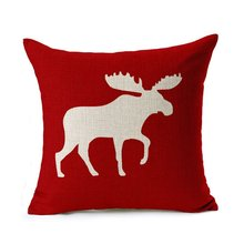 Holiday Moose Cotton Linen Decorative Throw Pillow Cover Cushion Case