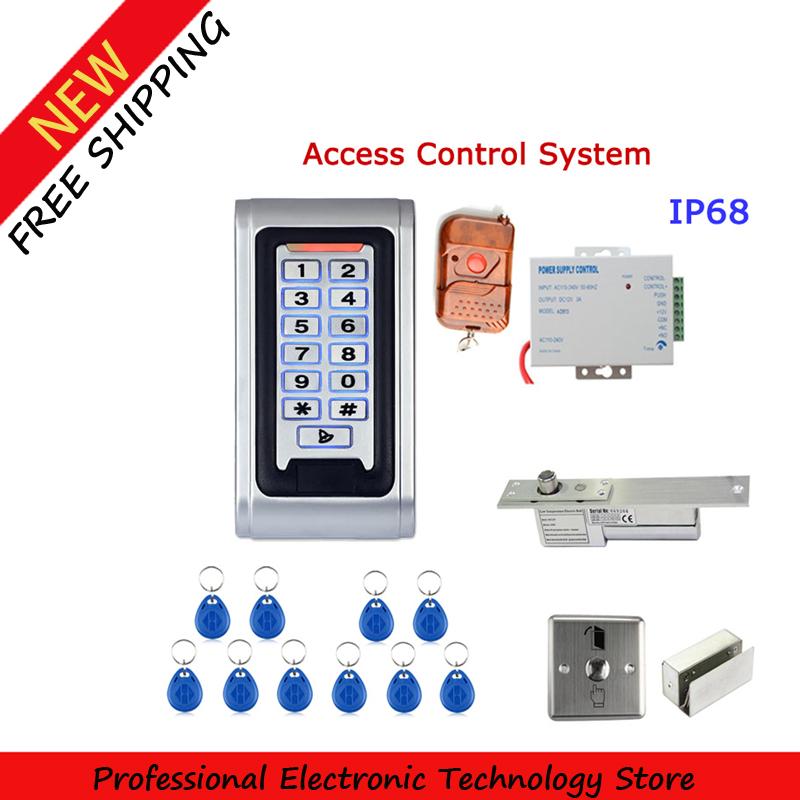 Door Access Control Controller Metal Case RFID Reader Keypad Remote Control Electric Door Lock Waterproof IP68(China (Mainland))