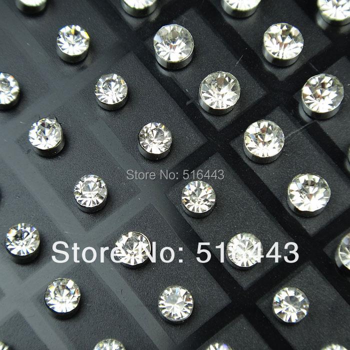 A-263 21Czech Rhinestones Fashion Stainless steel Stud Earrings Womens Mens Jewelry Lots - Edna store