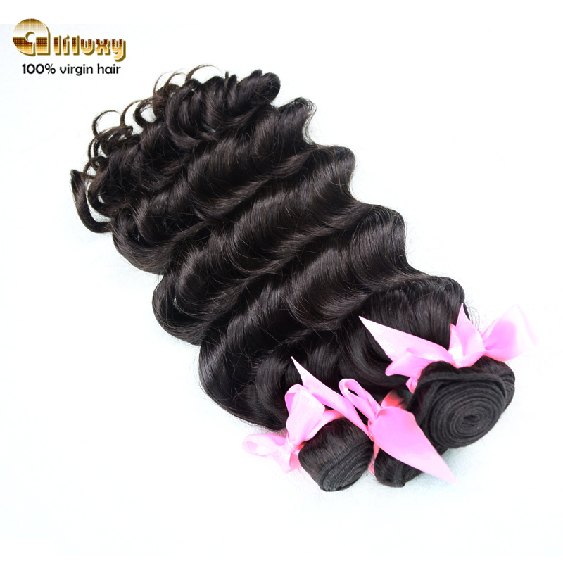 luxy 7A grade Indian hair, natural wave with big curl  100g/pcs 400g/lot, dhl free shipping, human  hair weave(China (Mainland))