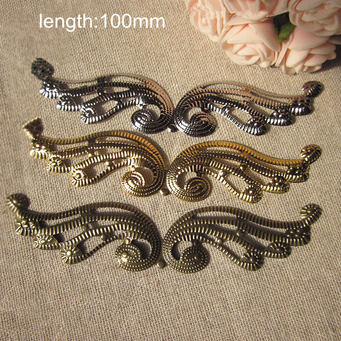 Free Shipping - 40 pcs Metal Stamping Phoenix Wing,Length is 10cm,Gold,Silver,Steel,Bronze,Metal Filigree Wings,Decorative Wings(China (Mainland))