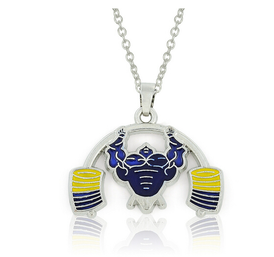 Metal Muscle Man Necklace