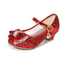 ULKNN נסיכת ילדי עור נעלי בנות פרח מזדמן נצנצים ילדי גבוהה העקב בנות נעלי פרפר קשר כחול ורוד כסף(China)
