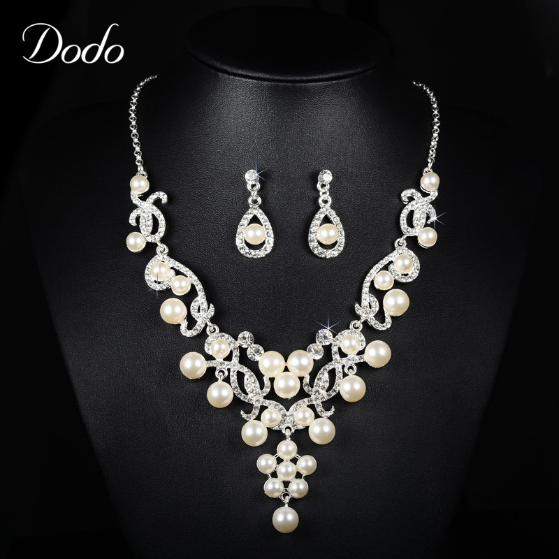 Luxury necklace earring jewelry sets for women wedding for Diamond pearl jewelry sets
