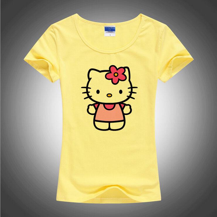 New lovely hello kitty t shirt women summer cool cartoon for Good t shirts brands