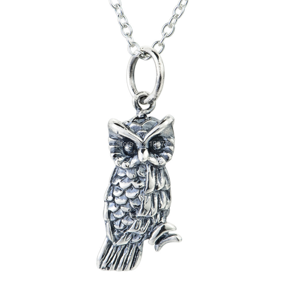 GNX0472 Vintage Jewelry Real 925 Sterling Silver Owl Pendant Necklace For Women Jewelry Wisdom Symbol Collare Mujer(China (Mainland))
