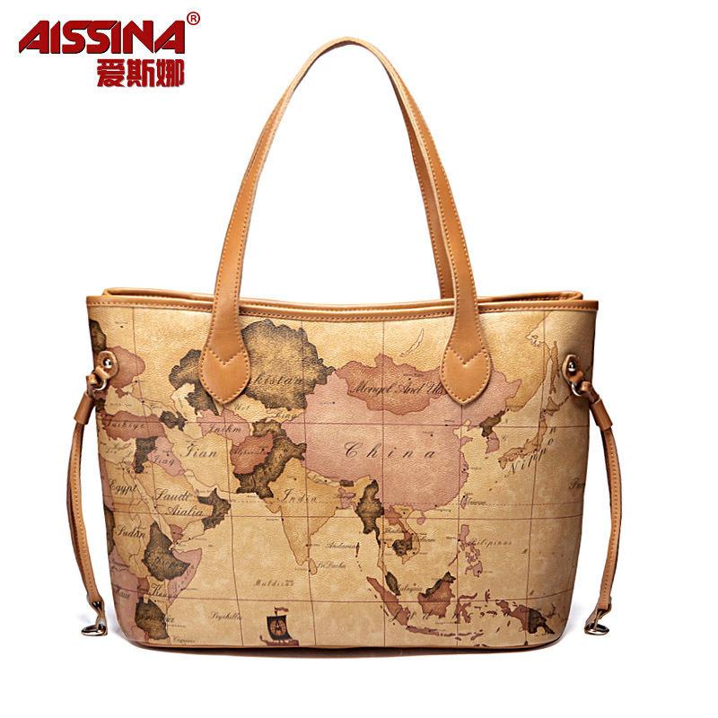 2012 drawstring women's bag map bag handbag bag