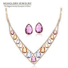 Neoglory צבעוני קריסטל Rhinestones רוז זהב צבע תכשיטים סטי V צווארון חרוז שרשראות עגילי 2020 עבור נשים JS9(China)