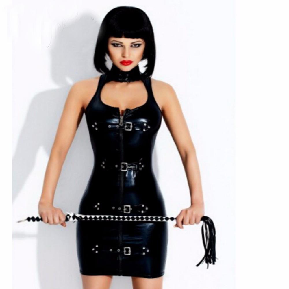 Women Latex Rubber Buckle Dress Keyhole Bust Zipper Black PVC Sexy Faux Leather Cupless Vinyl Club Mini Dress W377709(China (Mainland))