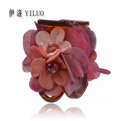 Wild Sweet Crystal Fabric Flowers Hair Claw Clip Perfect Party & Outdoor Hair Styling Accessory 5.5cm Long FREE SHIPPING(China (Mainland))
