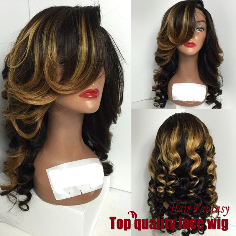 Здесь можно купить  New style ombre wig Synthetic Hair Heat Resistant body wave hair Lace Wigs With Bangs Cosplay Wigs For black Women New style ombre wig Synthetic Hair Heat Resistant body wave hair Lace Wigs With Bangs Cosplay Wigs For black Women Волосы и аксессуары