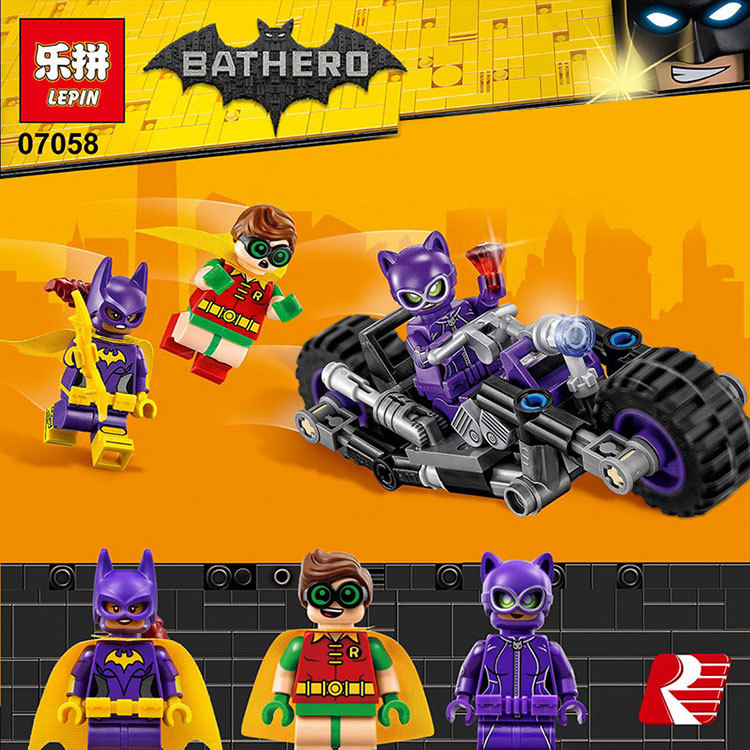 Marvel Avengers Super Heroes Lepin 07058 Batman Movie The Catwoman Motorcycle Chase Building Blocks Bricks Educational Toys