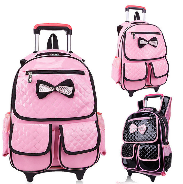 Girls Removable Trolley Backpack Children Schoolbags 4 Wheels School Wheeled Schoolbag Kids Best Gift  -  Baby & Honey store