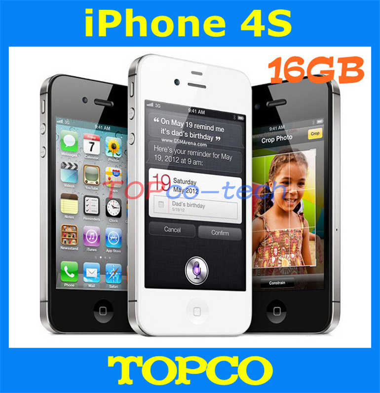 Factory Unlocked Original Iphone 4s 16GB Mobile Phone GSM WIFI GPS 8MP Black&White in sealed box dropshipping(China (Mainland))