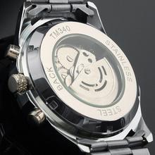 relojes Winner Brand New Fashion Steel Men Male Clock Automatic Mechanical Mens Wrist Dress Skeleton Black