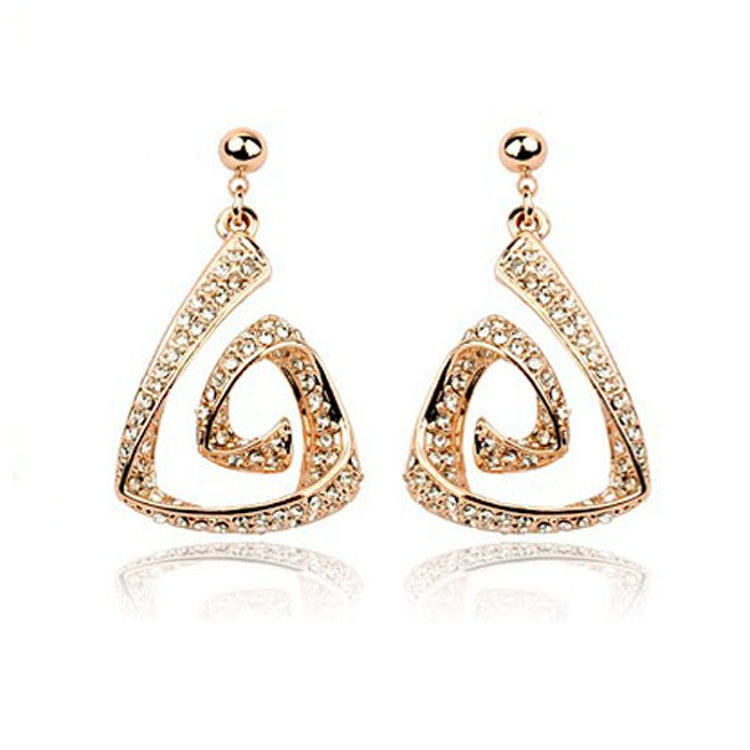 Hot Selling Factory Direct Price 18k Gold Plated Full Of Czech Diamond Geometric Stud Earring Stylish Fashion For Women(China (Mainland))
