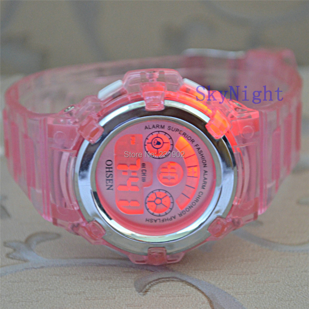 2014 New Fashion OHSEN Women Girl's Watch Crystal Pink Color Sport Digital 7 Light Funny WristWatch 12pc/lot - Sky Youngs store