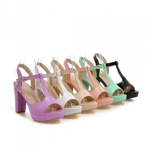 6 Colors 2015 Summer Style NEW T-Strap Womens Peep Toe Block High Heel Pumps Ankle Strap Sandals Court Party Shoes Plus Size - Shop639677 Store store