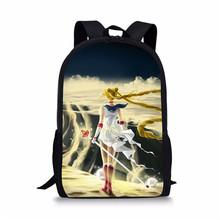 Mochila de escuela media de nuevo diseño para niñas Sailor Moon impresión niños bolsa de dibujos animados japoneses Mochila Infantil Ronaldo 9(China)