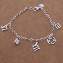 2016 Vintage Charm Bracelet Silver Roman Number For Women AB125(China (Mainland))