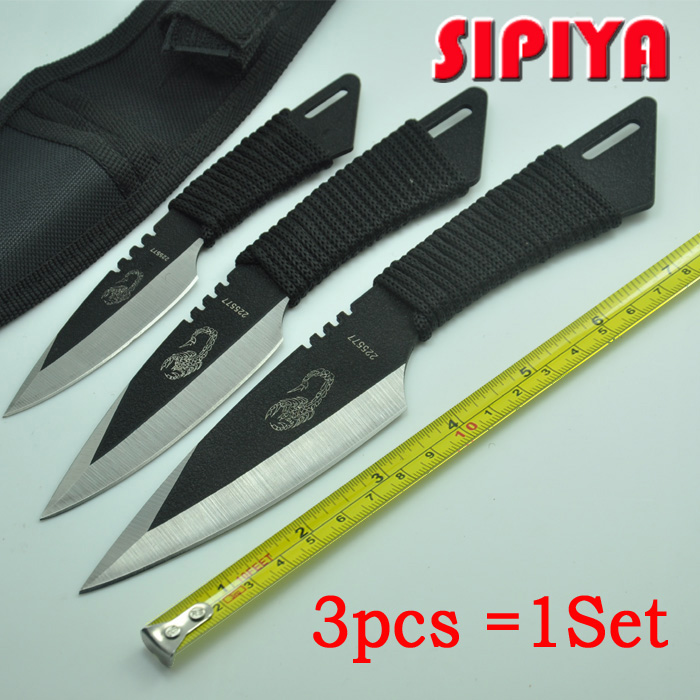 [3 in 1] knife tactical fixed blade knife survival Outdoor Camping Knives Stainless Steel Tactical Pocket Knife tools + Sheath(China (Mainland))