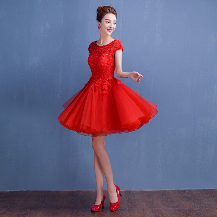 cheap red elegant sexy fashion knee short prom dress dresses party adult ball gown 2016 S3639 - I And You Story store