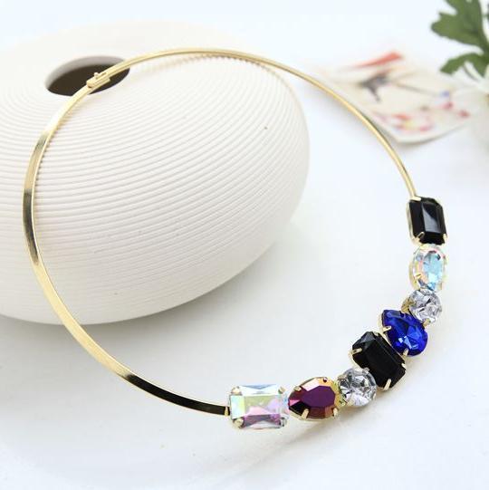 Новый OL большой камень позолоченные ключицы крутящий момент ожерелья женщины акриловые ...