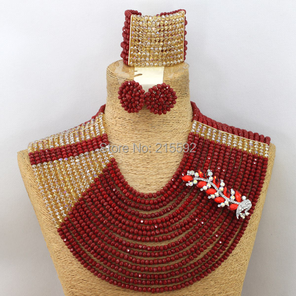 2014 New Big African Costume Jewelry Set Red Mix Gold Nigerian Wedding Indian Bridal African Beads Jewelry Free Shipping AEJ096<br><br>Aliexpress