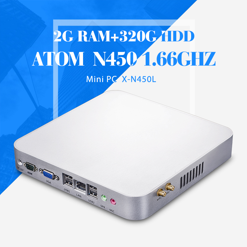 Low Power N450 2GB RAM 320GB hdd+wifi Embedded PC Mini Desktop without fan Thin Client Linux Support Performance 3D Graphics(China (Mainland))