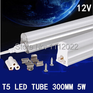 3pcs/lot New Solar Led Tube Lights 300mm T5 5W Tubes Led 30 cm SMD 3014 Super Brightness Led Bulbs Fluorescent Tubes 12V(China (Mainland))