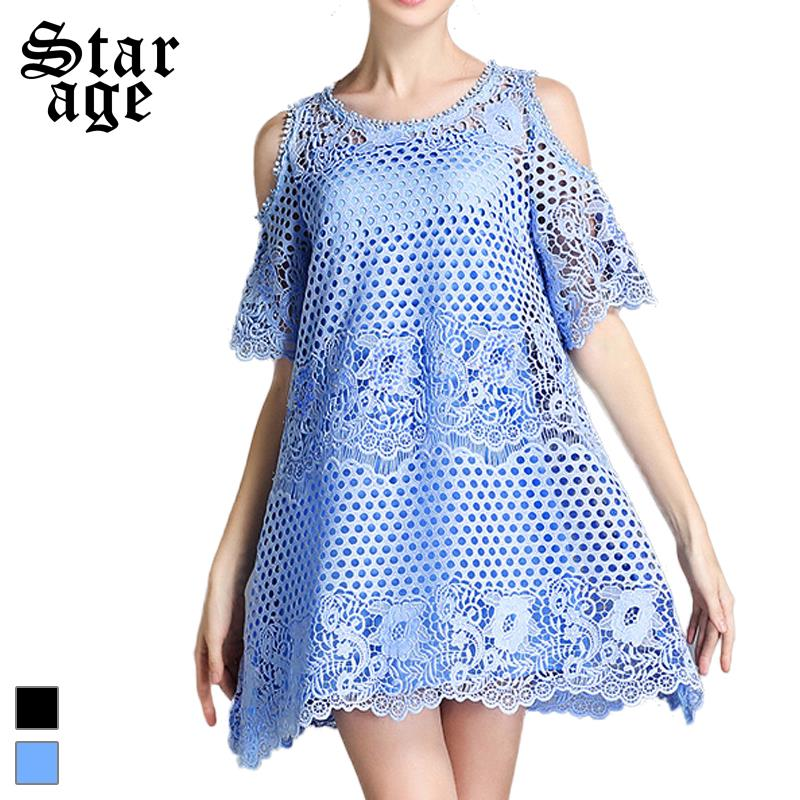 L-5XL Women Diamond Beads Sexy Lace Dresses 2016 Summer Hollow Out Lace Short Sleeve Mini Dresses For Party/Birthday 2237(China (Mainland))