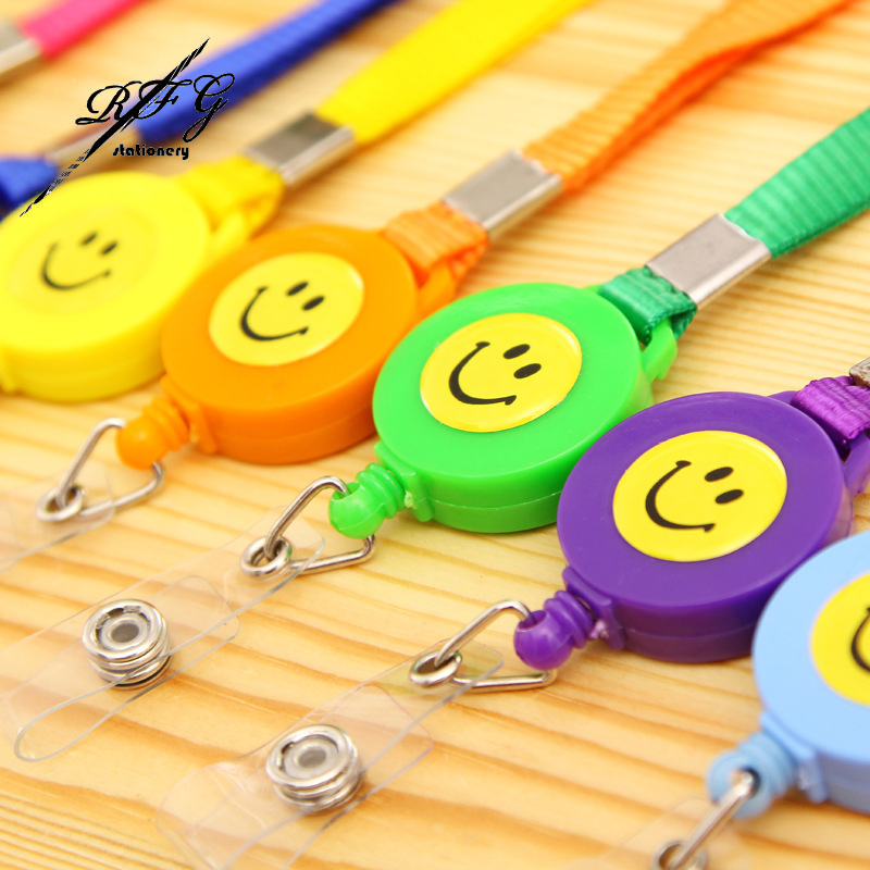 2PCS Smiling Face ID Holder Name Tag Card Clip Chain Badge Reel Retractable Pull Lanyard Recoil Belt School supplies(China (Mainland))