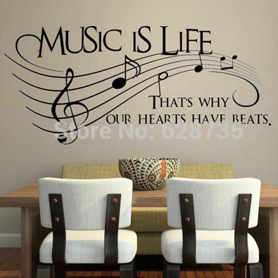 music is life that s why our hearts have beats vinyl grande taille musique sticker music is my life theme music