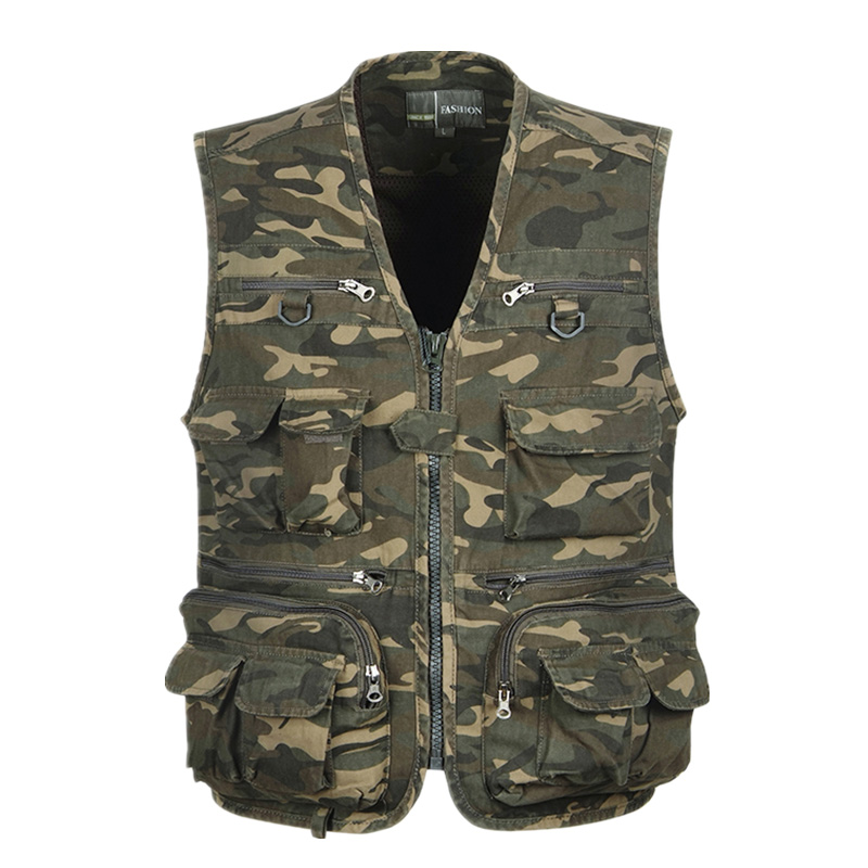 2015 Fashion Multi-Pocket Camouflage Fishing Vest Men Cotton Slim Fit Casual Waistcoat Outdoor Shoot Hunt  Army Tactical Vest<br><br>Aliexpress
