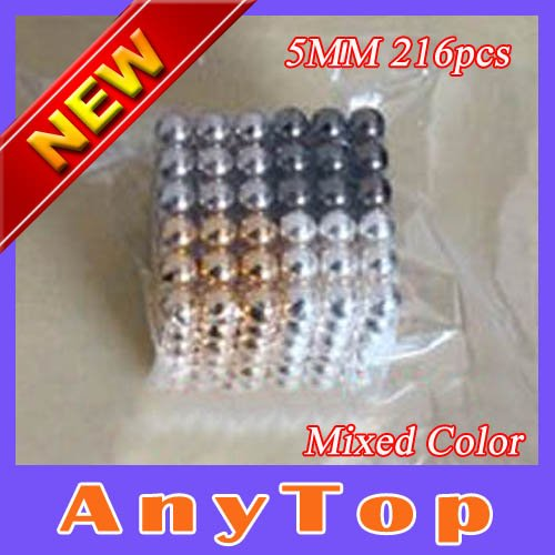 EMS Free Shipping 50sets/lot Mixed Color 5mm 216pcs Power Magnetic puzzle Neodym magnet Bucky balls with OPP packing(China (Mainland))