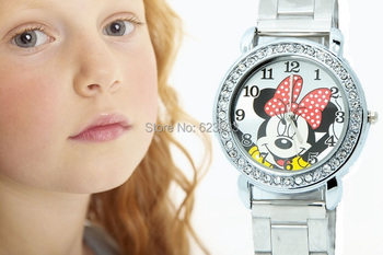 2015 New Design Women Quartz Watch fashion mouse stainless steel watch kids children cartoon full steel watch sport watches