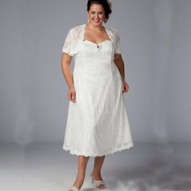 Vintage 2016 Plus Size Lace Beach Wedding Dresses With Jacket Sweetheart Shor