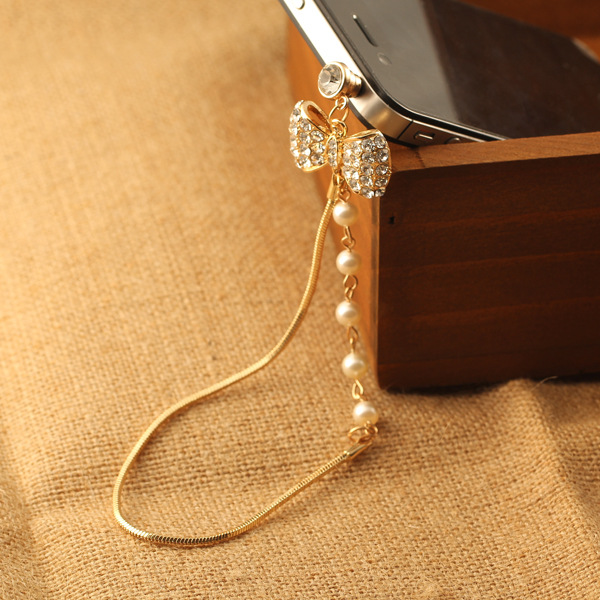 3 PCS Pattern Fashion style 3.5mm Pearl Diamond Bow Design Mobile Phone Ear Cap Dust Plug For Iphone Samsung dust plug(China (Mainland))