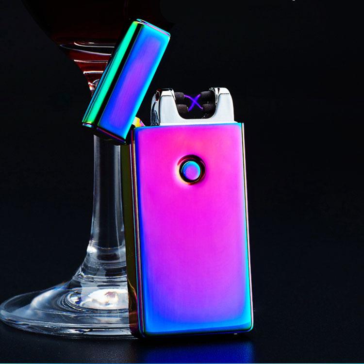 ถูก แฟนซีโลหะW Indproofไฟแช็กคู่Arc USBเบาไฟแช็อิเล็กทรอนิกส์แบบชาร์จEncendedor USBสูบบุหรี่แกดเจ็ต