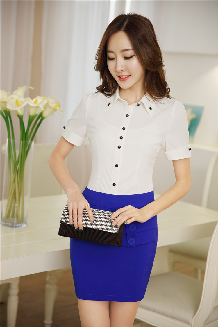 Fashion slim uniform design female office suits blouses for Office uniform design 2015