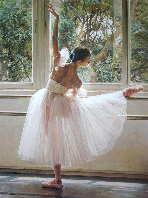 Free shipping Ballet girl in practice printed oil painting WK-- (424) home decoration art(China (Mainland))