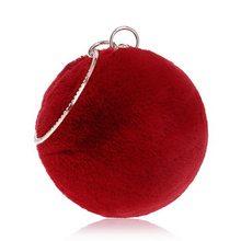 SEKUSA, зимний женский клатч с кроличьим мехом, вечерняя сумка, круглая, металлическая, золотая, бриллиантовая, на плечо, маленькие женские сумк...(China)
