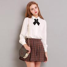 2016 Spring & Summer new arrival/good-looking pleated skirt/tartan skirt/plaid skirts with high waist in the preppy style