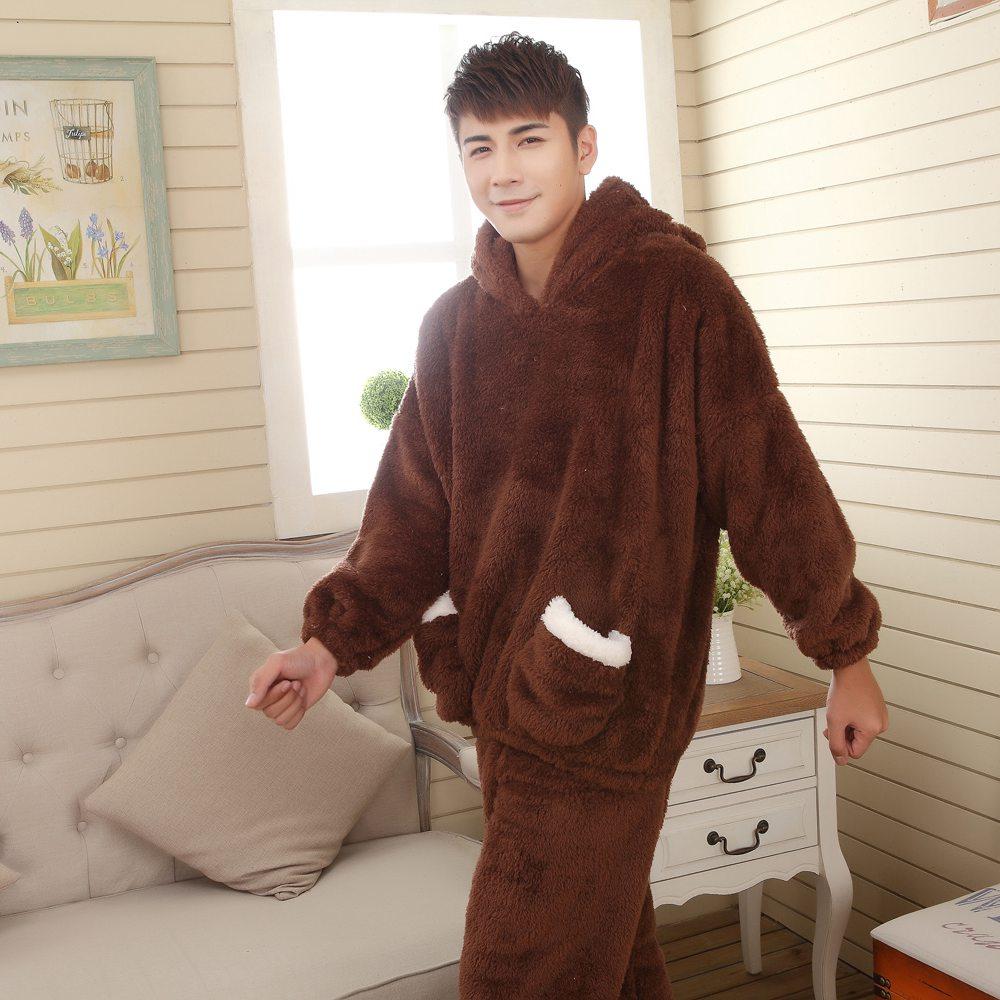 male warm long-sleeve winter sleepwear set flannel coral fleece men lounge sleep set nightgown thick Pajamas Set plus size(China (Mainland))