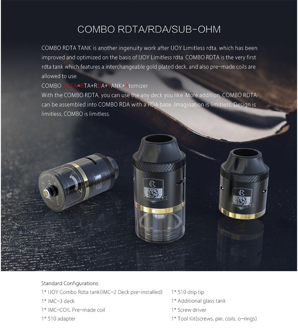 ถูก มาใหม่IJOY COMBOถังRDTAบุหรี่อิเล็กทรอนิกส์6.5มิลลิลิตรความจุขนาดใหญ่C OMBO RDTAเครื่องฉีดน้ำที่มี7ตัวเลือกขดลวดชั้น