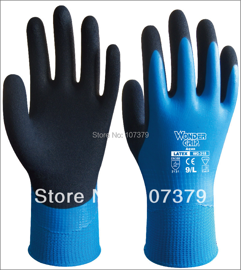Latex Dipped Labor Gloves Water Resistance Safety Gloves Water Proof Work glove(China (Mainland))