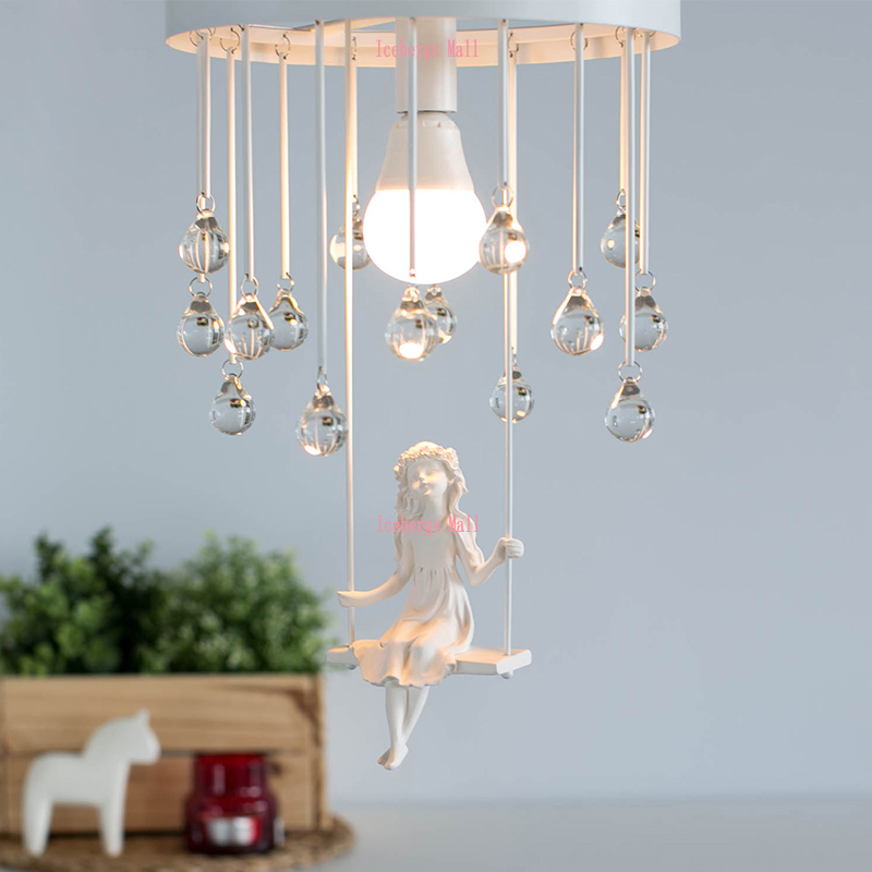 Nordic modern aisle crystal ceiling chandelier light sweet for Chandelier light for girls room