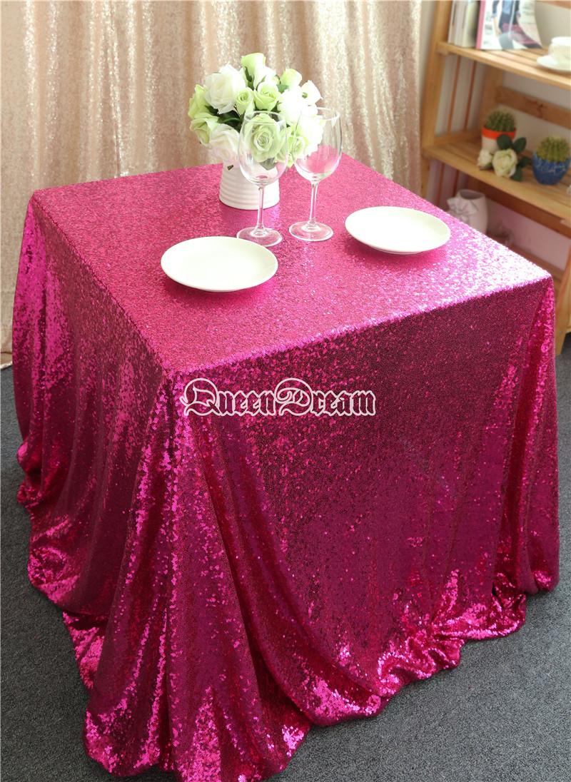 "90""X90"" Fuchsia Sequin Tablecloth Wedding Cake Tablecloth ,square Sequins Table Linen , wedding sequin table linens(China (Mainland))"