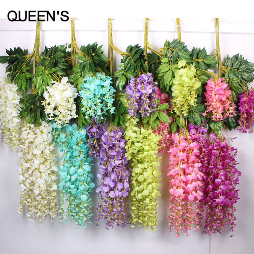 110cm silk wisteria garland artificial wisteria flower for Artificial flowers for wedding decoration