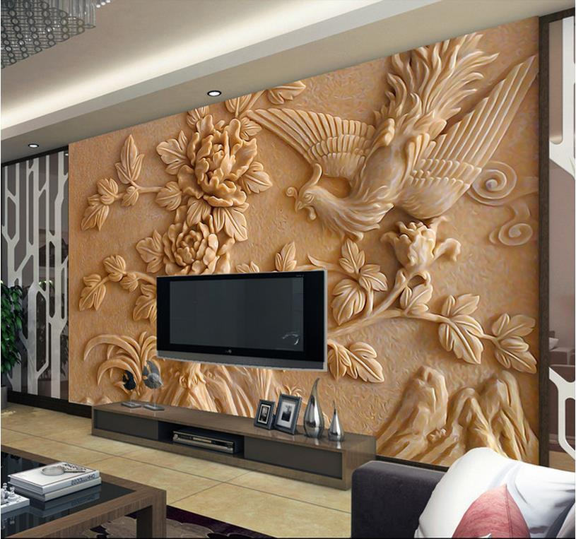 Aliexpresscom Buy Europea 3d wall murals wallpaper  : Europea 3d wall murals wallpaper photo relief Phoenix and peony for Tv sofa background wall papel from www.aliexpress.com size 815 x 763 jpeg 102kB